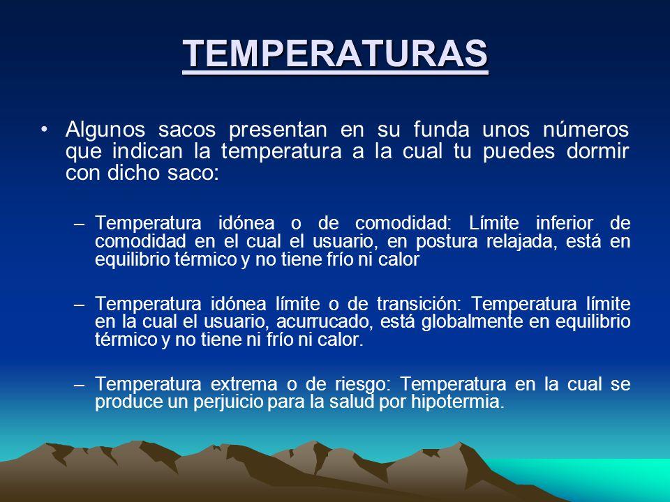 TEMPERATURAS Algunos sacos presentan en su funda unos números que indican la temperatura a la cual tu puedes dormir con dicho saco: –Temperatura idóne