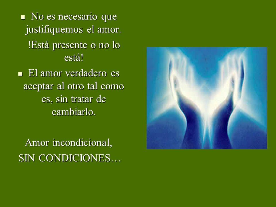 No es necesario que justifiquemos el amor. No es necesario que justifiquemos el amor. !Está presente o no lo está! El amor verdadero es aceptar al otr