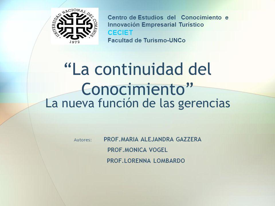 La continuidad del Conocimiento La nueva función de las gerencias Autores: PROF.MARIA ALEJANDRA GAZZERA PROF.MONICA VOGEL PROF.LORENNA LOMBARDO Centro
