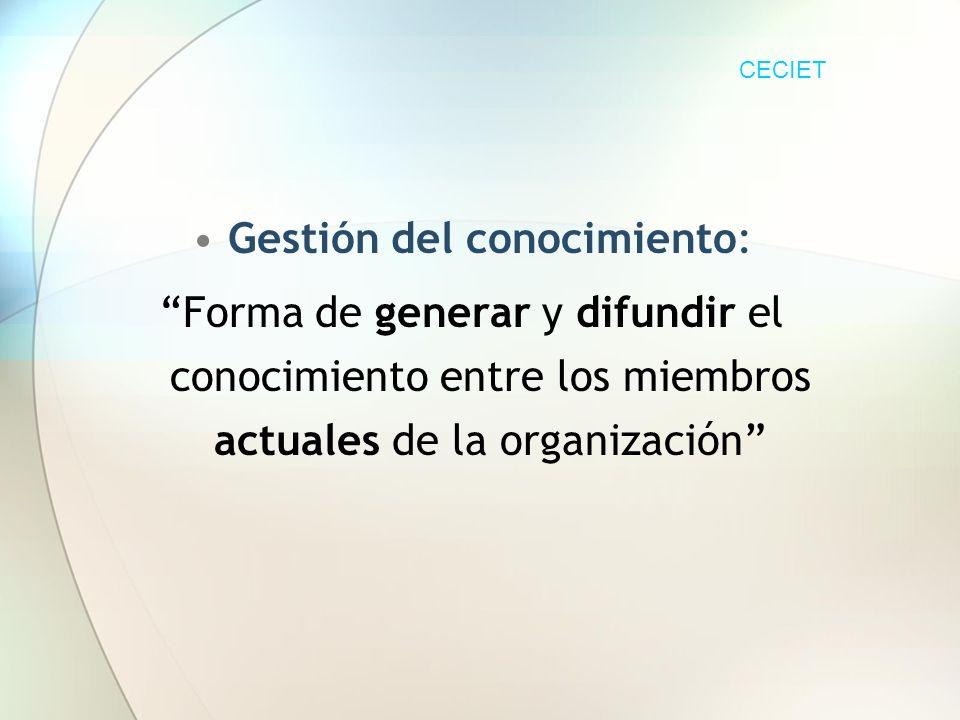 Gestión del conocimiento: Forma de generar y difundir el conocimiento entre los miembros actuales de la organización CECIET