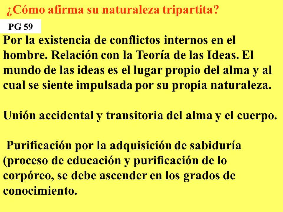¿Cómo afirma su naturaleza tripartita.Por la existencia de conflictos internos en el hombre.