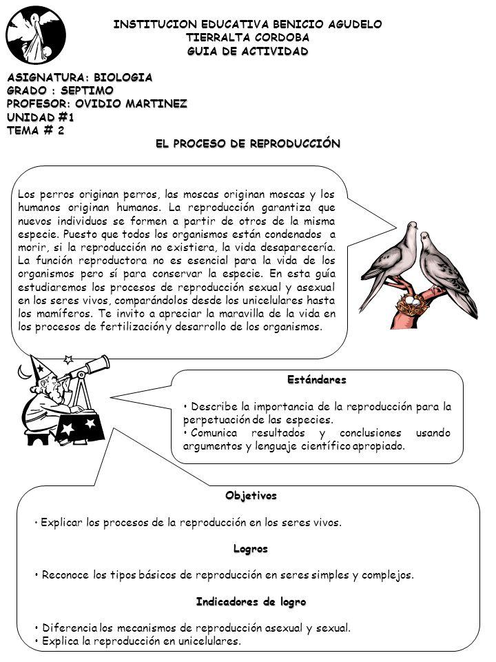 INSTITUCION EDUCATIVA BENICIO AGUDELO TIERRALTA CORDOBA GUIA DE ACTIVIDAD ASIGNATURA: BIOLOGIA GRADO : SEPTIMO PROFESOR: OVIDIO MARTINEZ UNIDAD #1 TEMA # 2 EL PROCESO DE REPRODUCCIÓN Los perros originan perros, las moscas originan moscas y los humanos originan humanos.