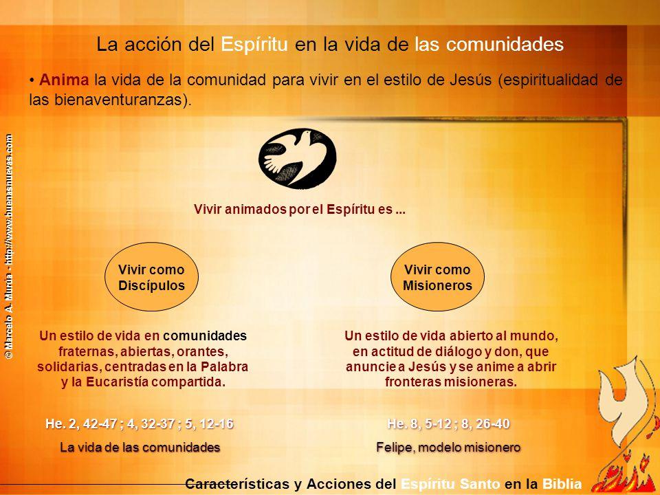 Anima la vida de la comunidad para vivir en el estilo de Jesús (espiritualidad de las bienaventuranzas). La acción del Espíritu en la vida de las comu