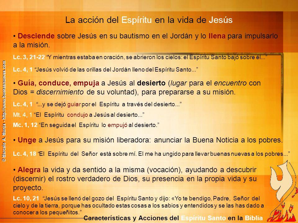 Desciende sobre Jesús en su bautismo en el Jordán y lo llena para impulsarlo a la misión. Lc. 3, 21-22 Y mientras estaba en oración, se abrieron los c