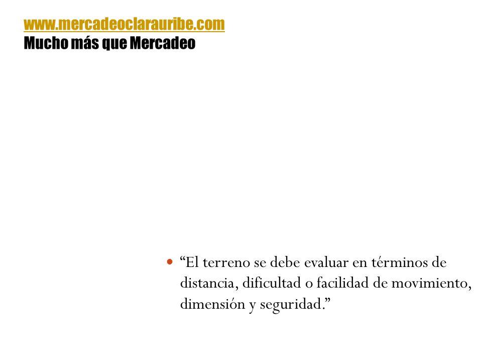 El terreno se debe evaluar en términos de distancia, dificultad o facilidad de movimiento, dimensión y seguridad. www.mercadeoclarauribe.com Mucho más