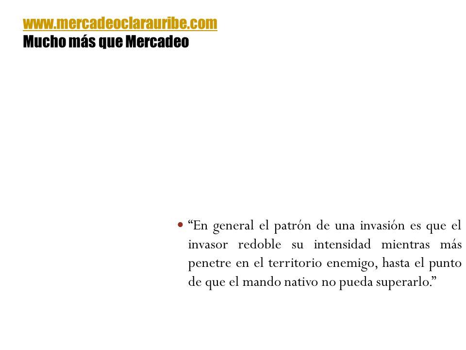 En general el patrón de una invasión es que el invasor redoble su intensidad mientras más penetre en el territorio enemigo, hasta el punto de que el m
