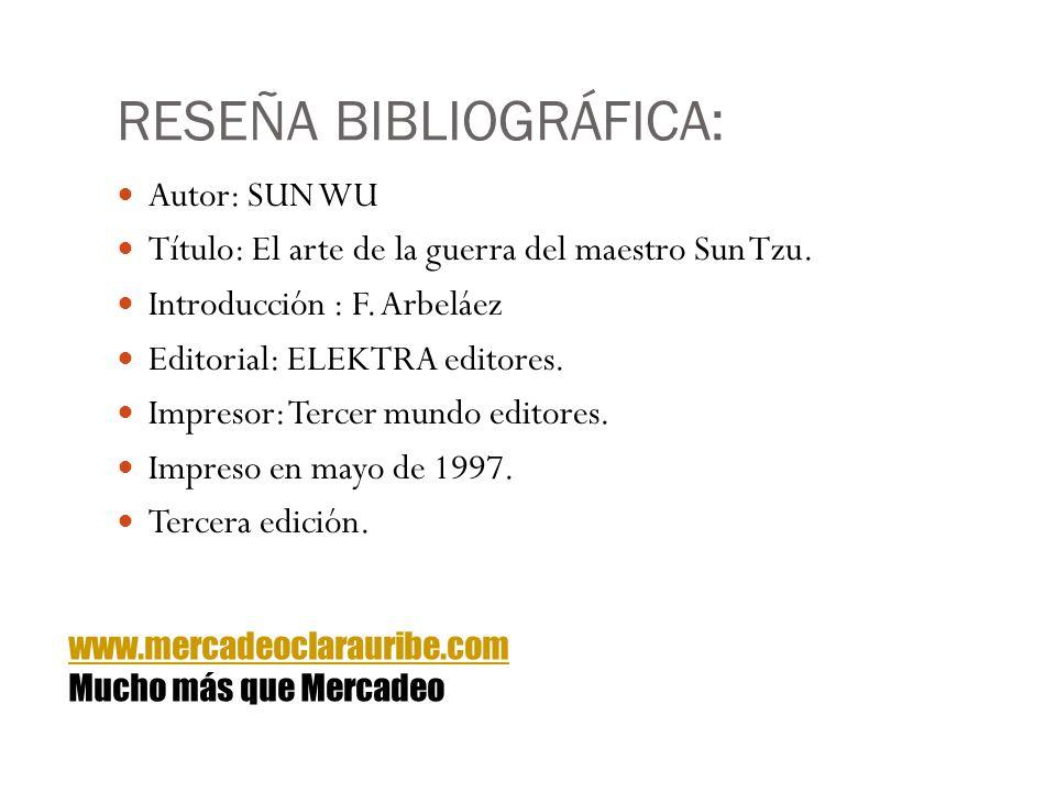 RESEÑA BIBLIOGRÁFICA: Autor: SUN WU Título: El arte de la guerra del maestro Sun Tzu. Introducción : F. Arbeláez Editorial: ELEKTRA editores. Impresor