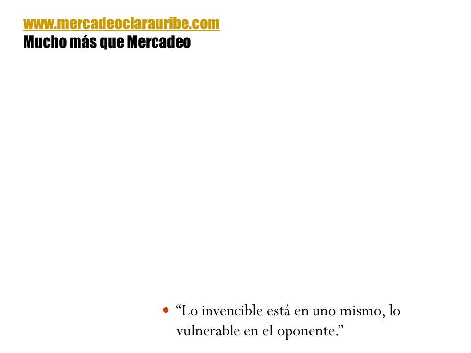 Lo invencible está en uno mismo, lo vulnerable en el oponente. www.mercadeoclarauribe.com Mucho más que Mercadeo