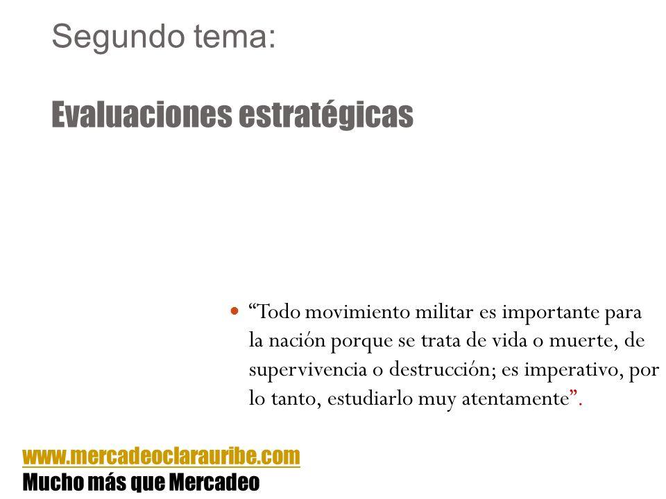 Segundo tema: Evaluaciones estratégicas Todo movimiento militar es importante para la nación porque se trata de vida o muerte, de supervivencia o dest