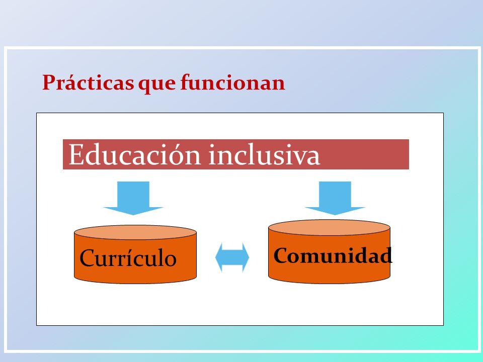 Prácticas que funcionan Currículo Comunidad Educación inclusiva