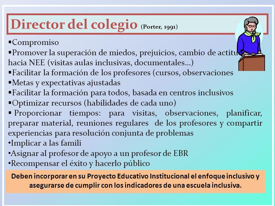 Director del colegio (Porter, 1991) Compromiso Promover la superación de miedos, prejuicios, cambio de actitudes hacia NEE (visitas aulas inclusivas,