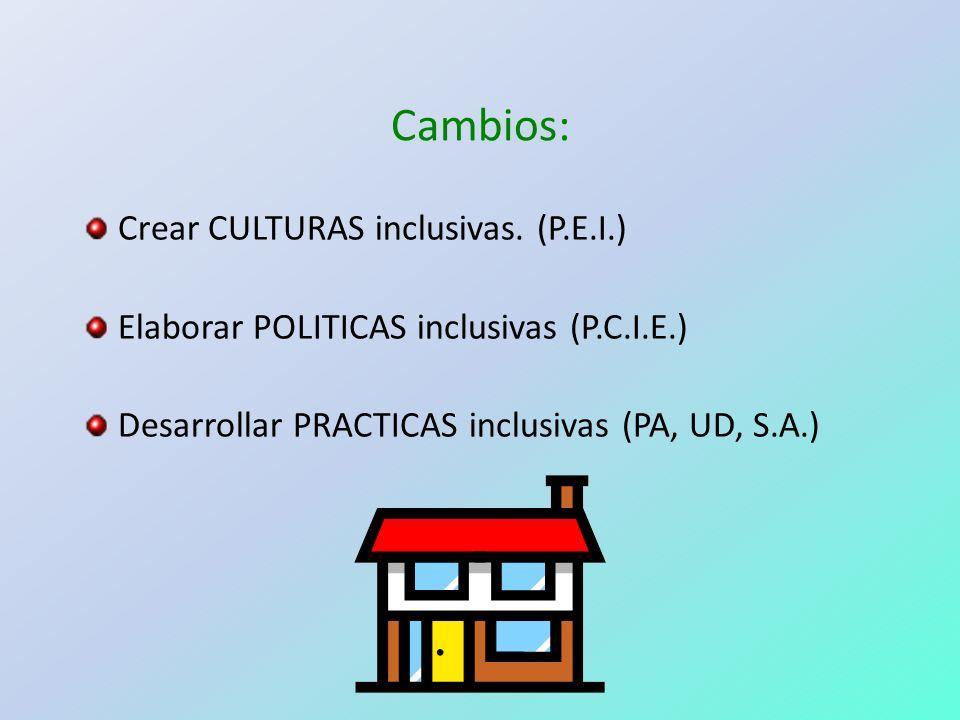 Cambios: Crear CULTURAS inclusivas. (P.E.I.) Elaborar POLITICAS inclusivas (P.C.I.E.) Desarrollar PRACTICAS inclusivas (PA, UD, S.A.)
