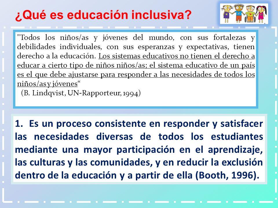 1. Es un proceso consistente en responder y satisfacer las necesidades diversas de todos los estudiantes mediante una mayor participación en el aprend