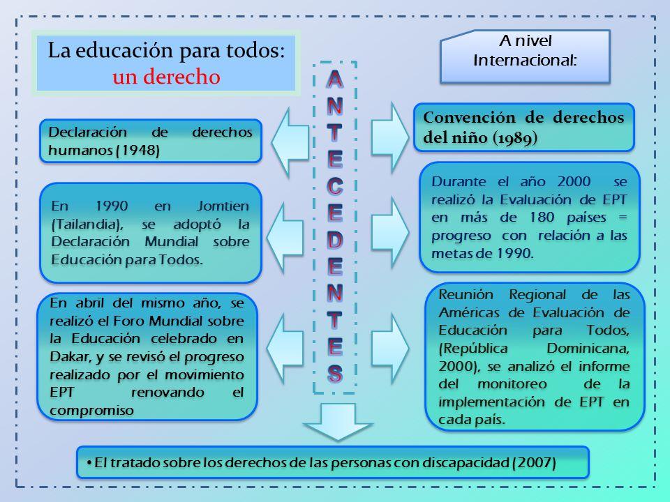 En 1990 en Jomtien (Tailandia), se adoptó la Declaración Mundial sobre Educación para Todos. Durante el año 2000 se realizó la Evaluación de EPT en má
