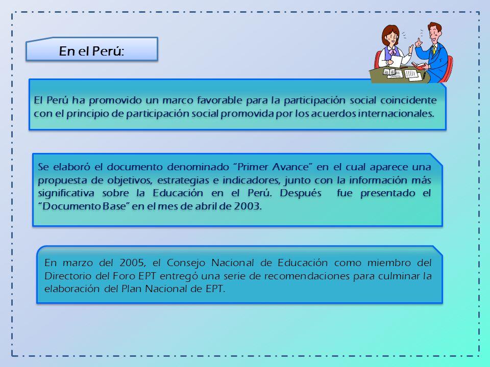 En el Perú: El Perú ha promovido un marco favorable para la participación social coincidente con el principio de participación social promovida por lo