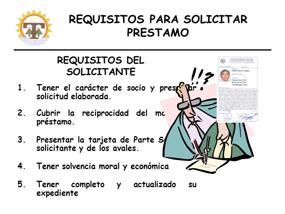 REQUISITOS PARA SOLICITAR PRESTAMO 1.Tener el carácter de socio y presentar solicitud elaborada.