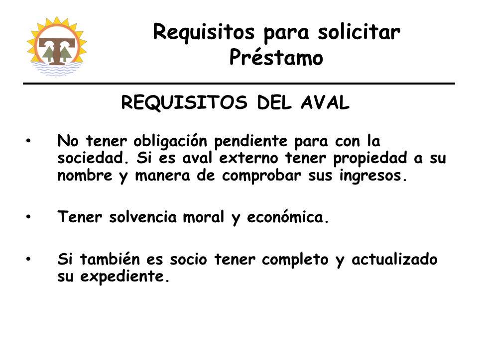 Requisitos para solicitar Préstamo No tener obligación pendiente para con la sociedad.