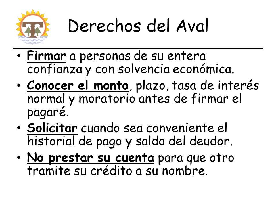 Derechos del Aval Firmar a personas de su entera confianza y con solvencia económica.