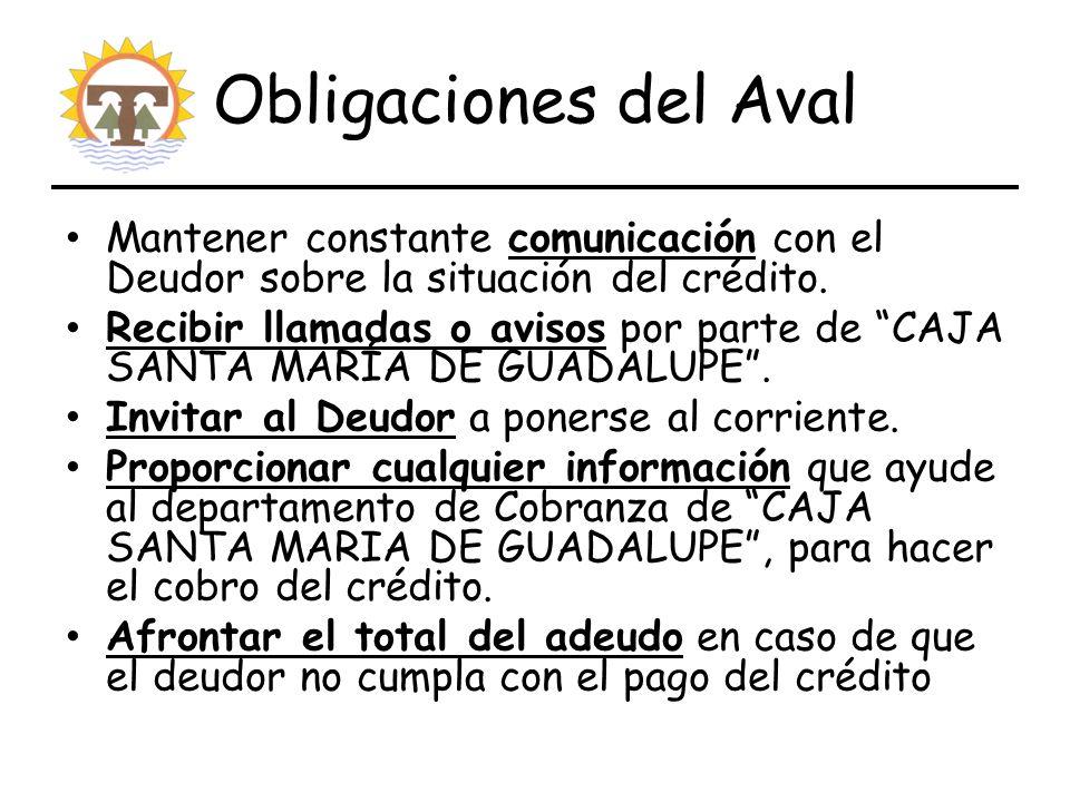 Obligaciones del Aval Mantener constante comunicación con el Deudor sobre la situación del crédito.