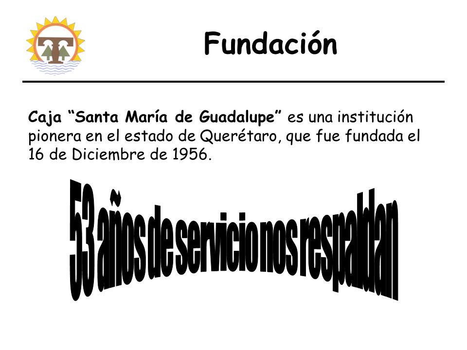 Fundación Caja Santa María de Guadalupe es una institución pionera en el estado de Querétaro, que fue fundada el 16 de Diciembre de 1956.