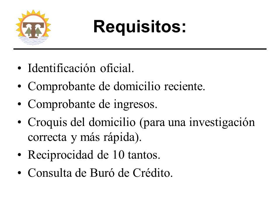 Requisitos: Identificación oficial.Comprobante de domicilio reciente.