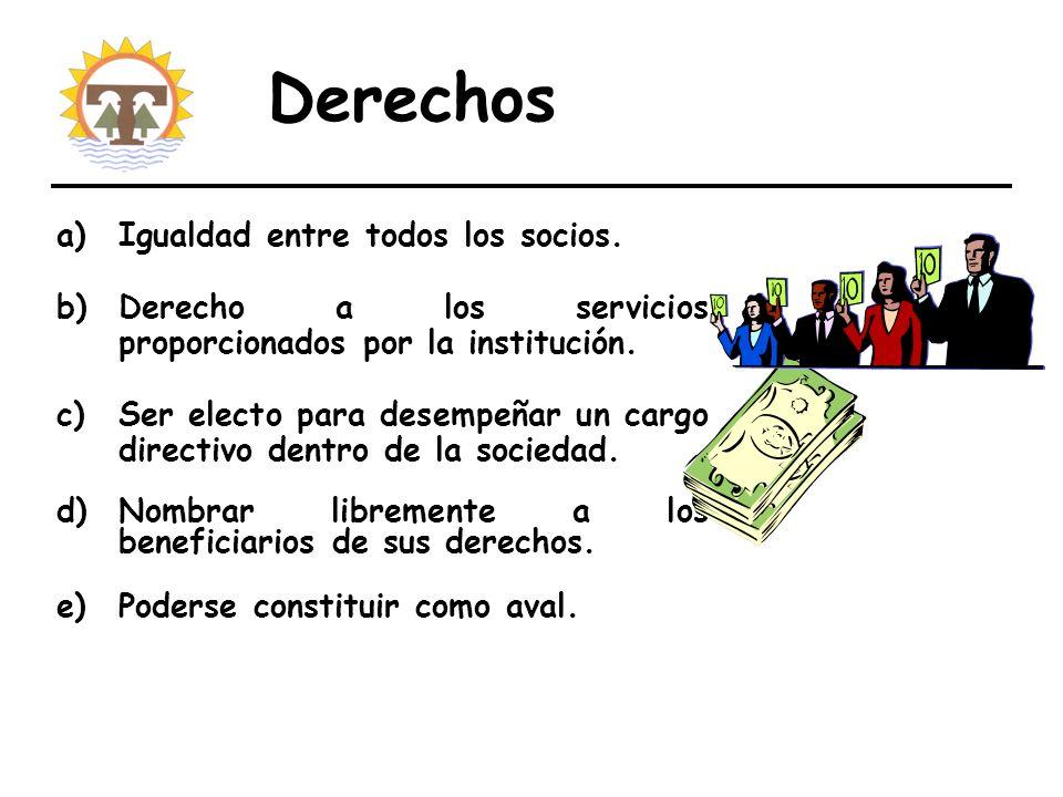 Derechos a)Igualdad entre todos los socios.