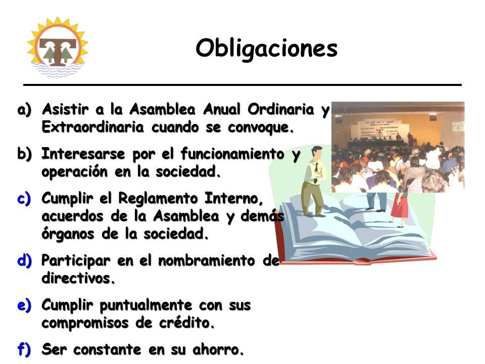 Obligaciones a)Asistir a la Asamblea Anual Ordinaria y Extraordinaria cuando se convoque.