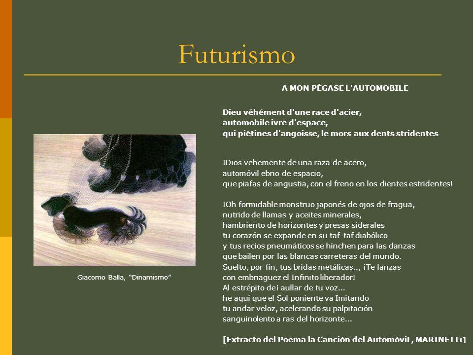 Futurismo El Futurismo, movimiento inicial de las corrientes de vanguardia artística, surge en roma, Italia impulsado por el poeta italiano Filippo Tommaso Marinetti.