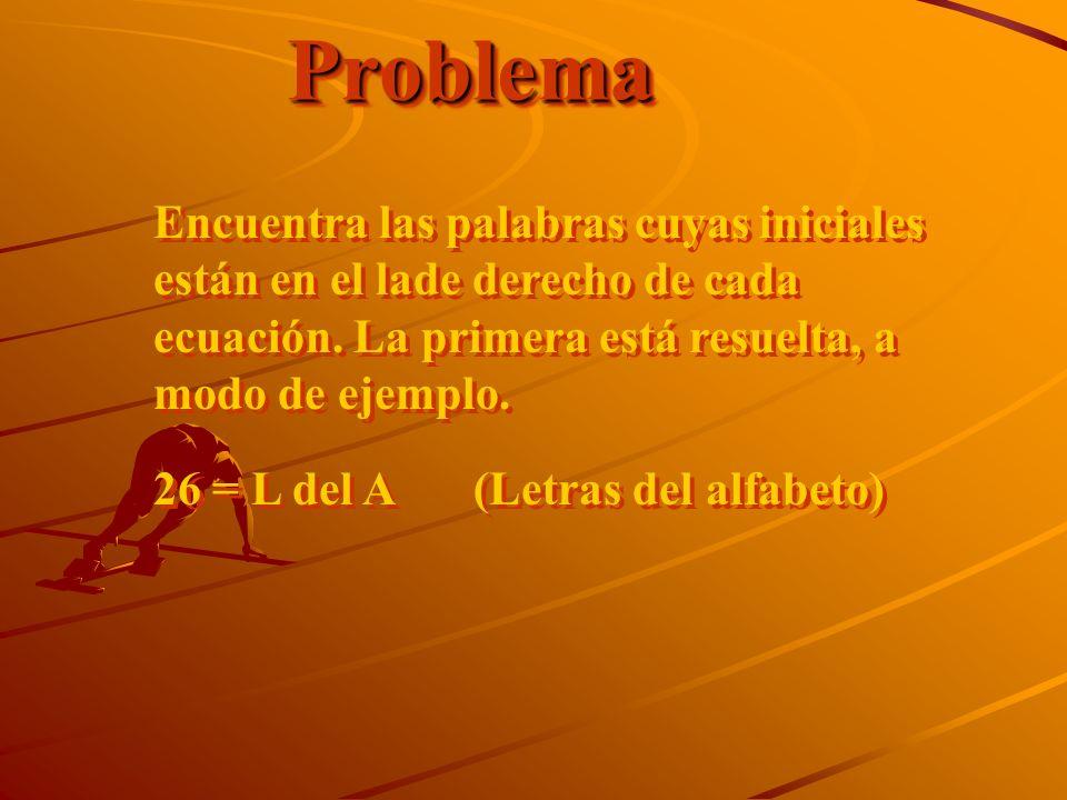 ProblemaProblema Encuentra las palabras cuyas iniciales están en el lade derecho de cada ecuación. La primera está resuelta, a modo de ejemplo. 26 = L