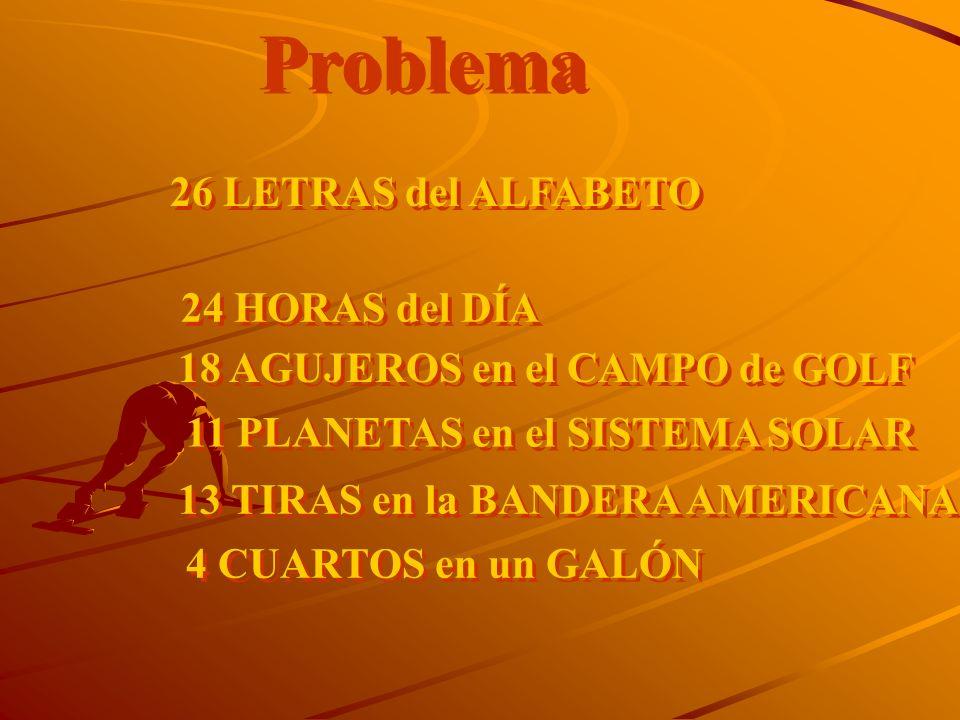 Problema 26 LETRAS del ALFABETO 24 HORAS del DÍA 18 AGUJEROS en el CAMPO de GOLF 11 PLANETAS en el SISTEMA SOLAR 13 TIRAS en la BANDERA AMERICANA 4 CU