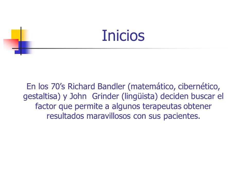 Inicios En los 70s Richard Bandler (matemático, cibernético, gestaltisa) y John Grinder (lingüista) deciden buscar el factor que permite a algunos ter