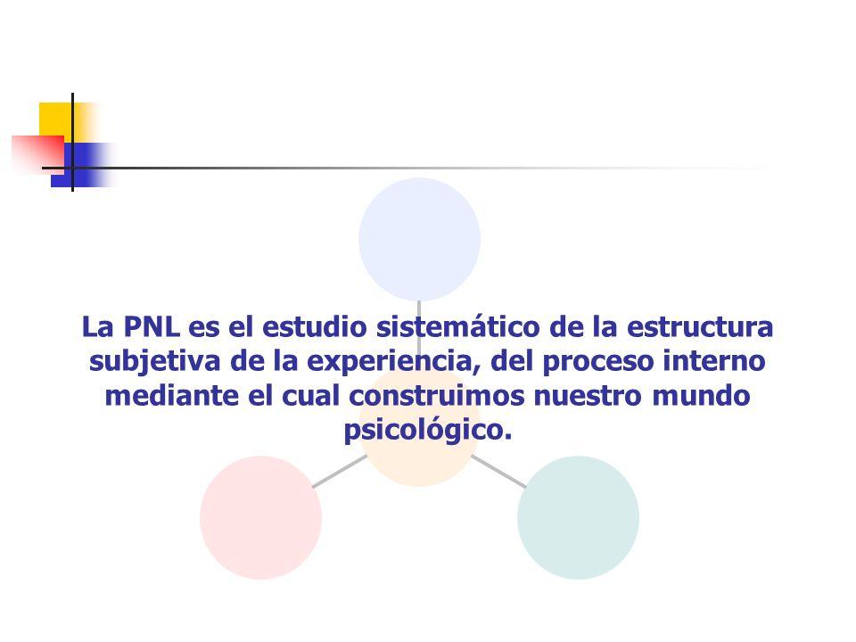 La PNL es el estudio sistemático de la estructura subjetiva de la experiencia, del proceso interno mediante el cual construimos nuestro mundo psicológ