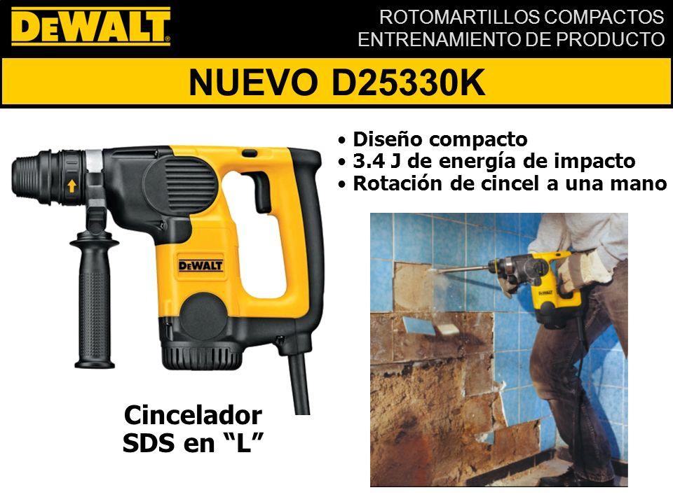 ROTOMARTILLOS COMPACTOS ENTRENAMIENTO DE PRODUCTO NUEVO D25330K Cincelador SDS en L Diseño compacto 3.4 J de energía de impacto Rotación de cincel a una mano