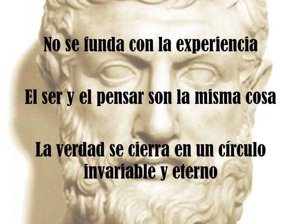 No se funda con la experiencia El ser y el pensar son la misma cosa La verdad se cierra en un círculo invariable y eterno