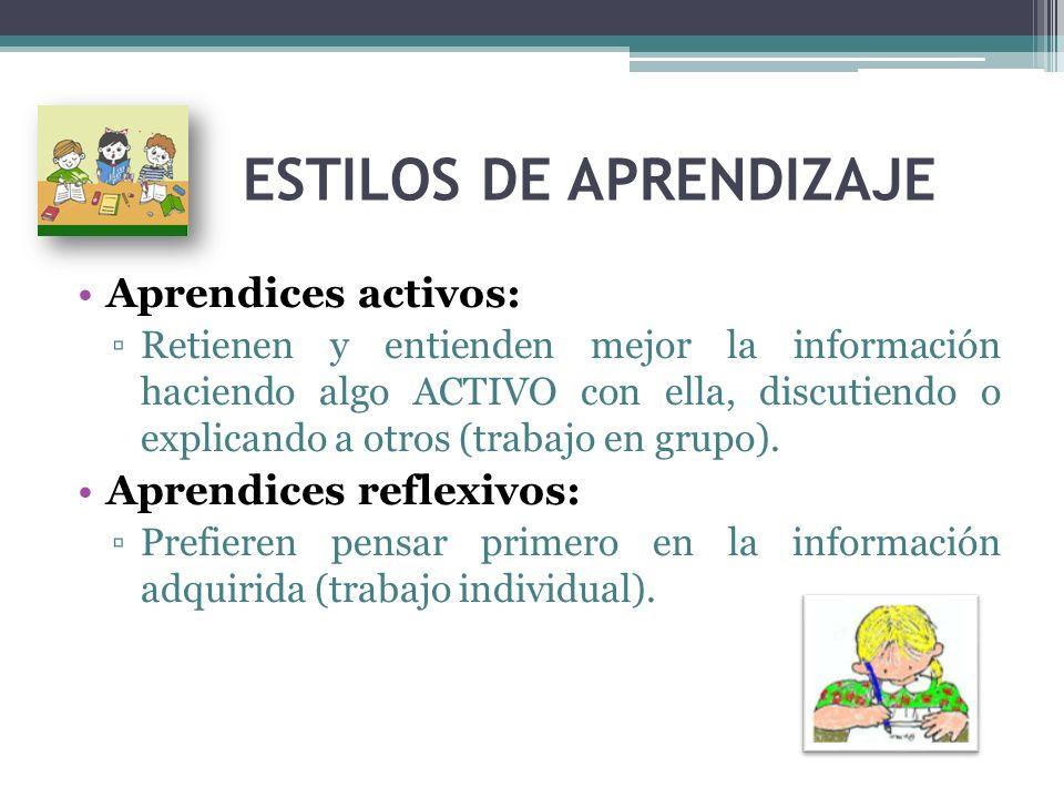 ESTILOS DE APRENDIZAJE Aprendices activos: Retienen y entienden mejor la información haciendo algo ACTIVO con ella, discutiendo o explicando a otros (