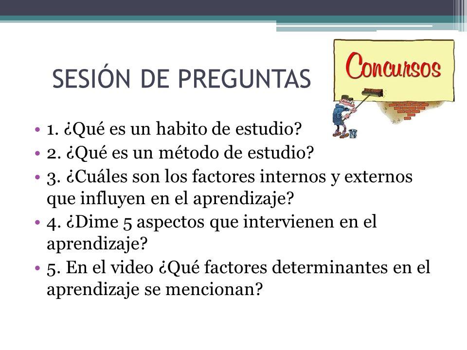 SESIÓN DE PREGUNTAS 1. ¿Qué es un habito de estudio? 2. ¿Qué es un método de estudio? 3. ¿Cuáles son los factores internos y externos que influyen en