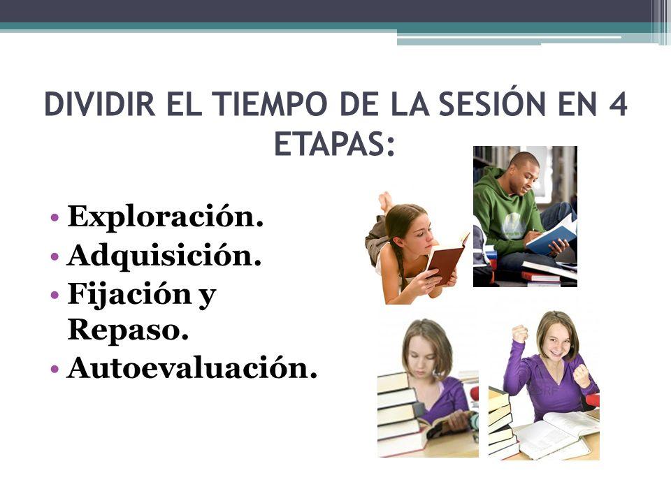 DIVIDIR EL TIEMPO DE LA SESIÓN EN 4 ETAPAS: Exploración. Adquisición. Fijación y Repaso. Autoevaluación.