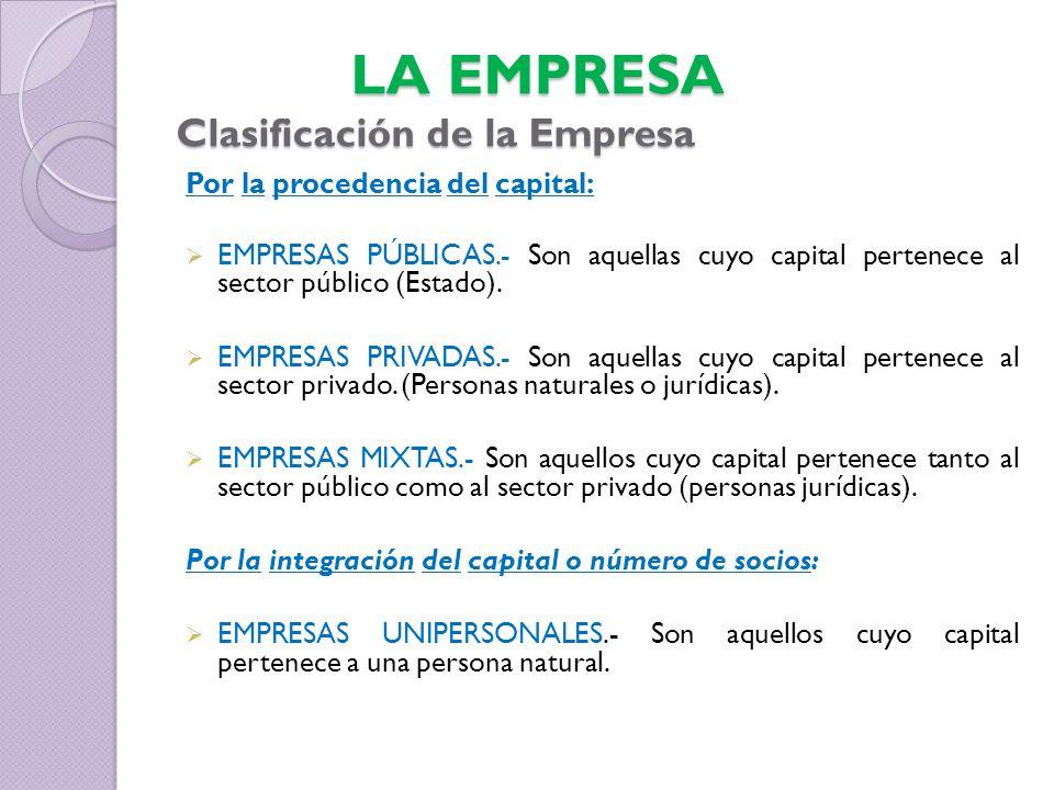 Por la procedencia del capital: EMPRESAS PÚBLICAS.- Son aquellas cuyo capital pertenece al sector público (Estado). EMPRESAS PRIVADAS.- Son aquellas c