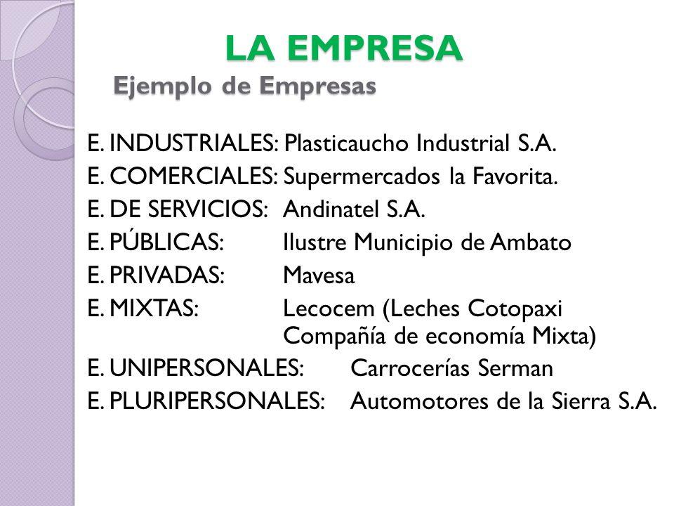 E.INDUSTRIALES: Plasticaucho Industrial S.A. E. COMERCIALES: Supermercados la Favorita.