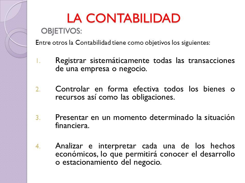 Entre otros la Contabilidad tiene como objetivos los siguientes: 1. Registrar sistemáticamente todas las transacciones de una empresa o negocio. 2. Co