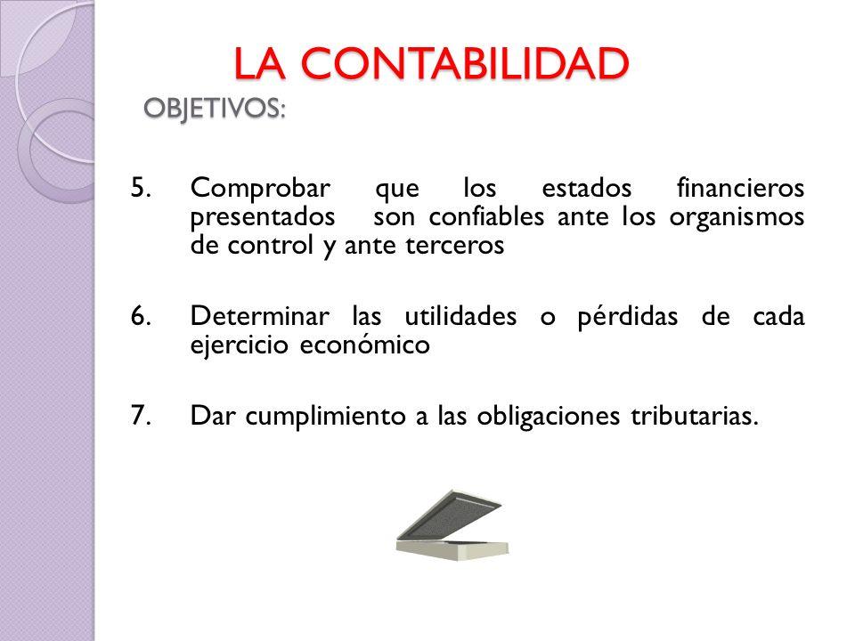 5. Comprobar que los estados financieros presentados son confiables ante los organismos de control y ante terceros 6. Determinar las utilidades o pérd