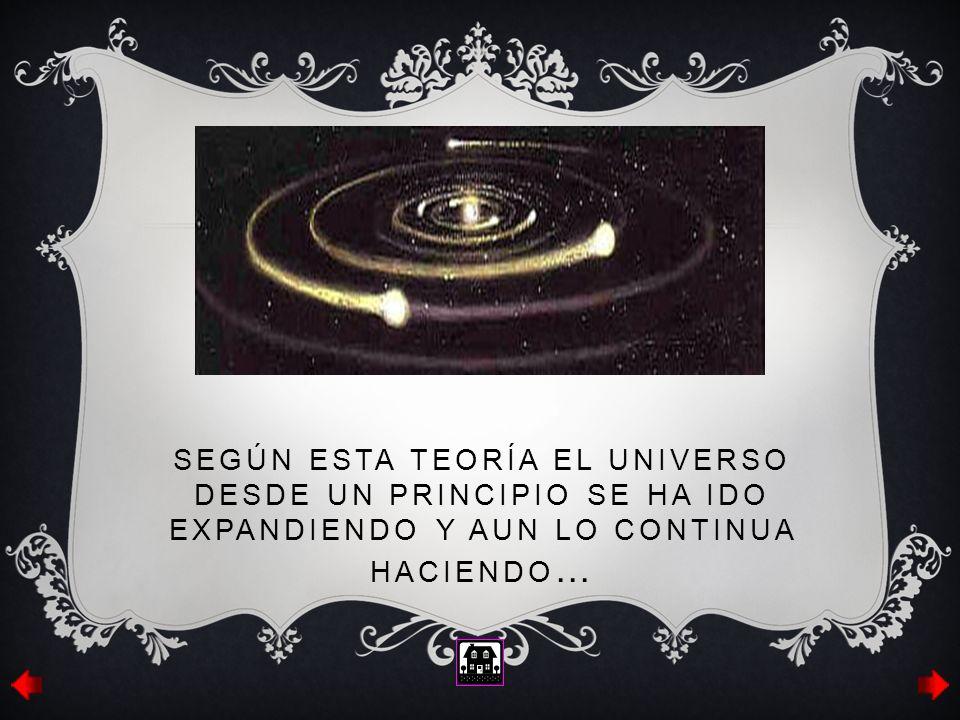 SEGÚN ESTA TEORÍA EL UNIVERSO DESDE UN PRINCIPIO SE HA IDO EXPANDIENDO Y AUN LO CONTINUA HACIENDO …