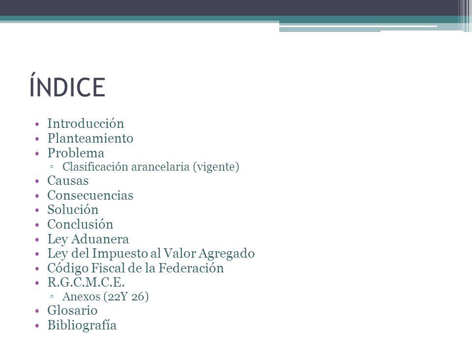 ÍNDICE Introducción Planteamiento Problema Clasificación arancelaria (vigente) Causas Consecuencias Solución Conclusión Ley Aduanera Ley del Impuesto
