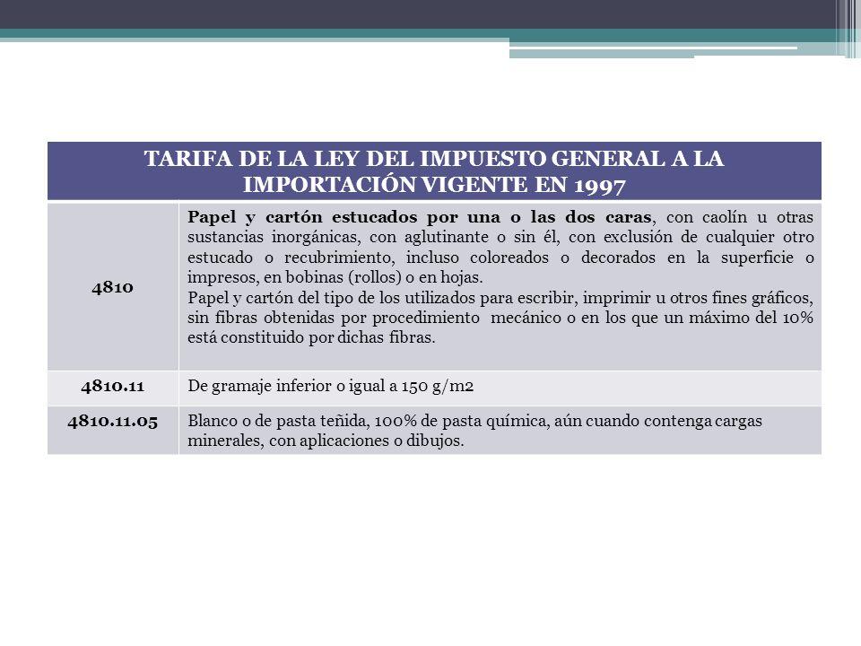 TARIFA DE LA LEY DEL IMPUESTO GENERAL A LA IMPORTACIÓN VIGENTE EN 1997 4810 Papel y cartón estucados por una o las dos caras, con caolín u otras susta