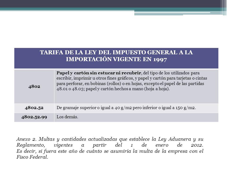 TARIFA DE LA LEY DEL IMPUESTO GENERAL A LA IMPORTACIÓN VIGENTE EN 1997 4802 Papel y cartón sin estucar ni recubrir, del tipo de los utilizados para es