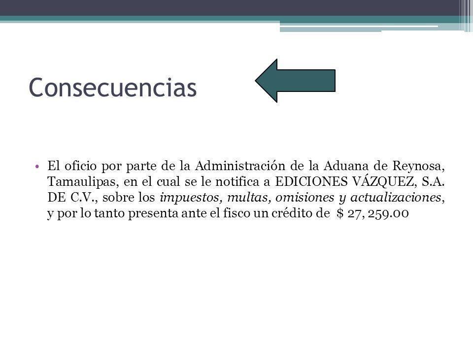 Consecuencias El oficio por parte de la Administración de la Aduana de Reynosa, Tamaulipas, en el cual se le notifica a EDICIONES VÁZQUEZ, S.A. DE C.V