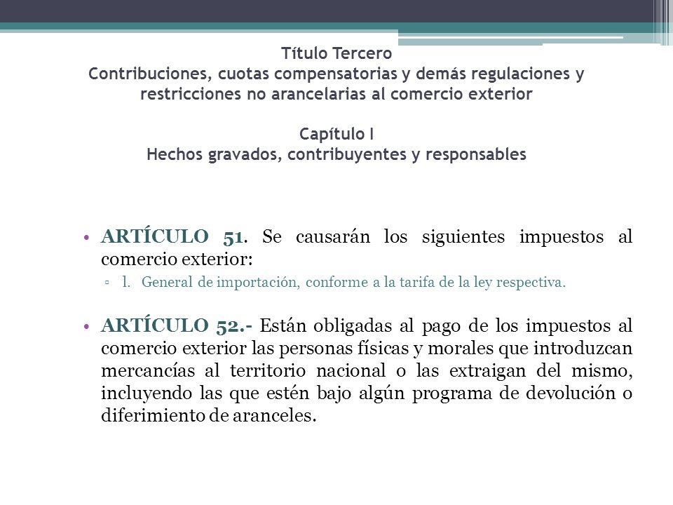 Título Tercero Contribuciones, cuotas compensatorias y demás regulaciones y restricciones no arancelarias al comercio exterior Capítulo I Hechos grava