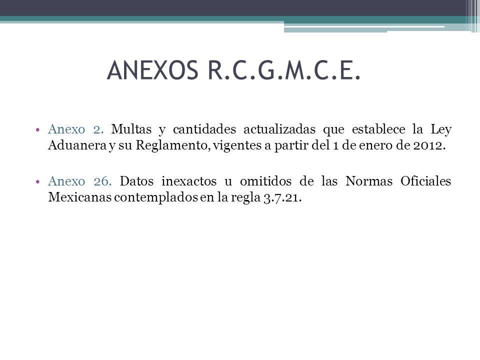 ANEXOS R.C.G.M.C.E. Anexo 2. Multas y cantidades actualizadas que establece la Ley Aduanera y su Reglamento, vigentes a partir del 1 de enero de 2012.