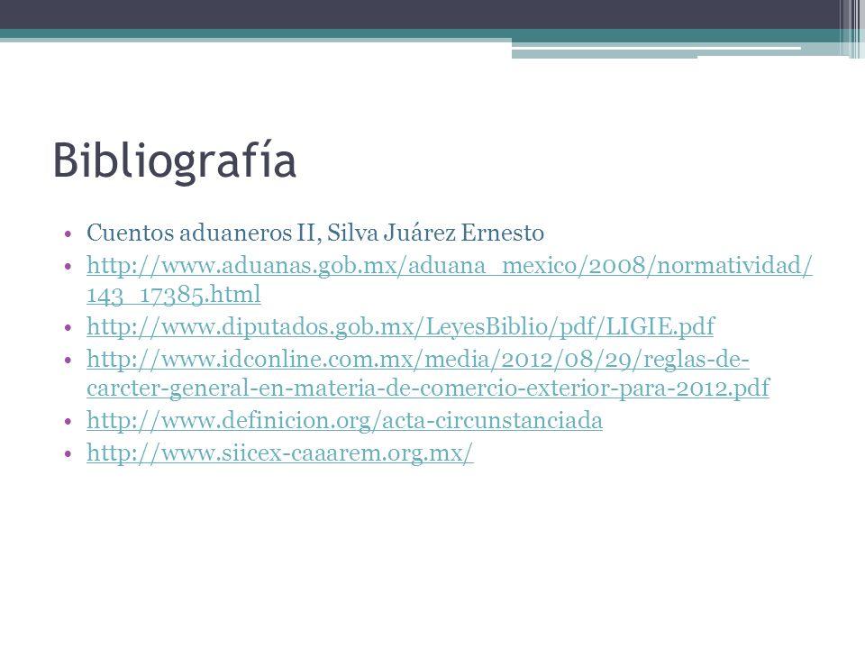 Bibliografía Cuentos aduaneros II, Silva Juárez Ernesto http://www.aduanas.gob.mx/aduana_mexico/2008/normatividad/ 143_17385.htmlhttp://www.aduanas.go