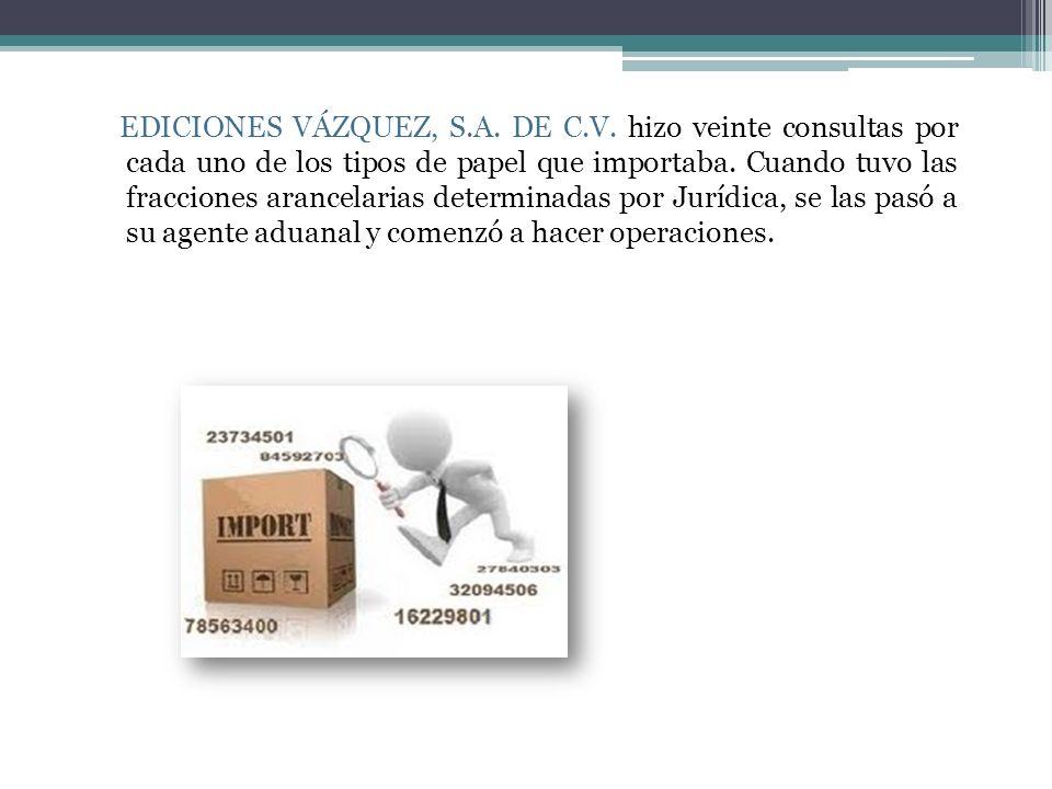 EDICIONES VÁZQUEZ, S.A. DE C.V. hizo veinte consultas por cada uno de los tipos de papel que importaba. Cuando tuvo las fracciones arancelarias determ